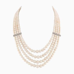 Handcrafted Beaded Multi-Strand Necklace with Rows of Pink Coral, Diamond & 14K White Gold