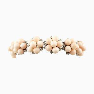 Handgefertigtes Armband aus Diamant, Rosa Koralle & Weißgold