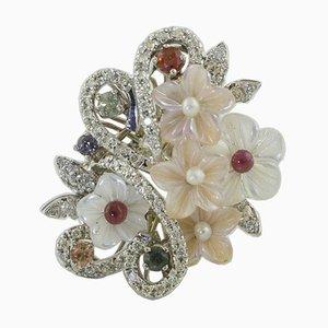 Anillo artesanal de diamantes, zafiros multicolor, perla y nácar