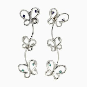 Handcrafted Butterfly Earrings in White Gold, Set of 2