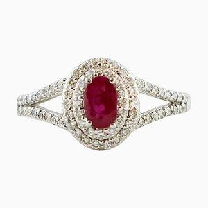 Anello in oro bianco con diamanti, rubini e 18 carati
