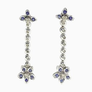 Diamond, Sapphire & 14K Gold Earrings, Set of 2
