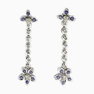 Ohrringe aus Diamant, Saphir & 14 Karat Gold, 2er Set