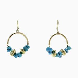 Turquoise & Gold Hoop Matrix Earrings, Set of 2