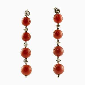 Red Coral Sphere, White Diamond & 14 Karat White Gold Dangle Earrings, Set of 2