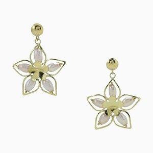 Aretes colgantes de oro y perlas artesanales. Juego de 2