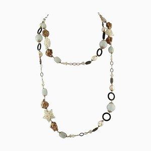 Onyx, Milk Aquamarine, Pearl, Light Pink Quartz, Rose Gold and Silver Necklace