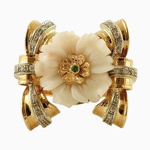Diamant-, Smaragd-, Pink Coral Flower & 14 Karat Rose und Weißgold Ring