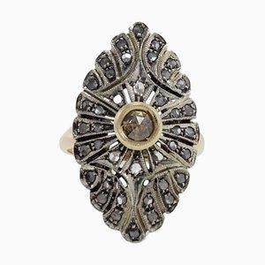 Anello da cocktail con diamanti, oro e argento
