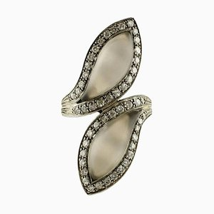 Modischer Diamant-, Bergkristall-, Weißgold- und Silberring