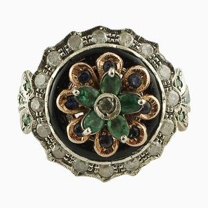 Emerald, Blue Sapphire, Diamond, Onyx, Rose Gold and Silver Ring