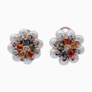 Mehrfarbige Blumenohrringe aus Saphir, Diamant, Perle & 14 Karat Weiß- und Roségold, 2er Set