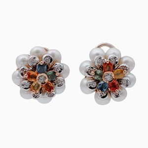 Multicolored Sapphire, Diamond, Pearl & 14Kt White and Rose Gold Flower Earrings, Set of 2