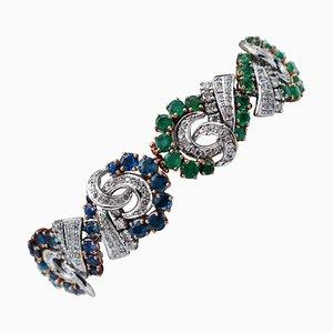 Blauer Saphir, Smaragd, Diamant und 14 Karat Weiß- und Roségold Armband