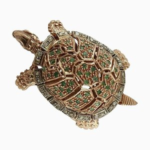 Anello a forma di tartaruga color smeraldo, diamante, oro rosa 9 carati