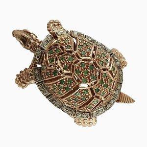 Anillo en forma de tortuga de esmeralda, diamantes, oro rosa de 9 quilates y plata