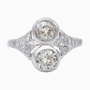 Anillo de oro blanco de 14 kt y diamantes