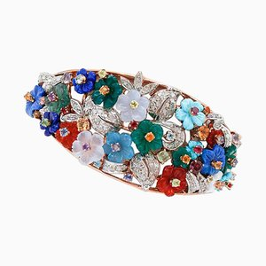 Diamant, Topas, Tansanit, Turmalin, Aquamarin, Peridot, Granat, Lapislazuli & Achat Armband