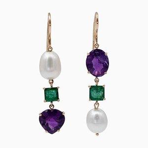 Emerald, Amethyst, Baroque Pearl & 14 Karat Rose Gold Dangle Earrings, Set of 2