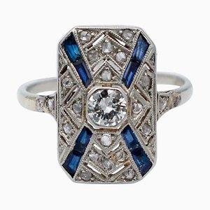 Anillo de zafiro, diamantes y platino