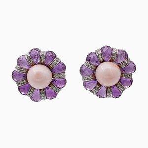 Amethyst, Diamond, Coral & 18 Karat White Gold Stud Earrings, Set of 2