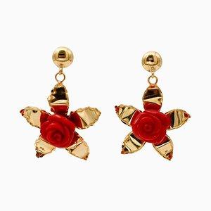 Coral & 18 Karat Yellow Gold Flower Dangle Earrings, Set of 2