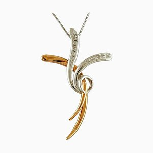 Diamond, 18 Karat Rose and White Gold Stylized Cross Pendant Necklace