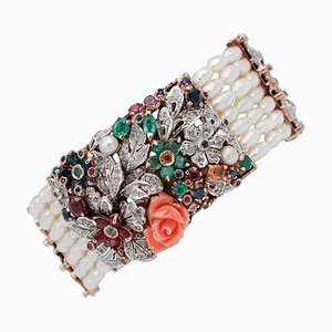 Diamond, Emerald, Ruby, Sapphire, Coral, Pearl, 9K Rose Gold and Silver Bracelet