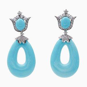 Hängende Ohrringe aus Türkis, Diamant & 14 Karat Weißgold, 2er Set