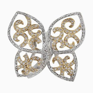 Anello a farfalla con diamanti e oro a 18 carati