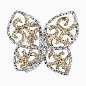 Diamant & 18 Karat Gold Schmetterling Ring