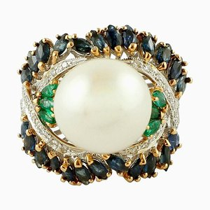 Diamond, Emerald, Blue Sapphire, Pearl & 14K White and Rose Gold Cluster Ring