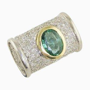 Smaragd, Diamant & Weißgold und Gelbgold Cocktail Ring