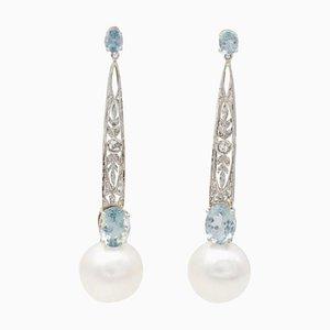 Weiße Ohrringe mit Perle, Aquamarin, Diamant & Platin, 2er Set