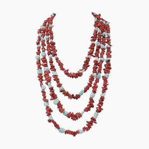 Collier Multirang Corail et Turquoise