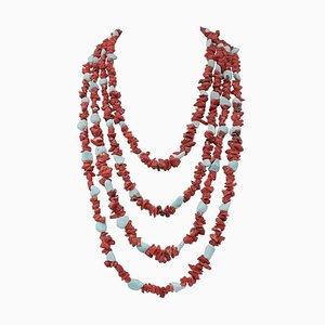 Koralle & Türkis Multi-Strang Halskette