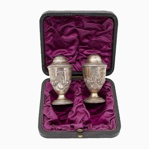 19th Century English Silver Salt and Pepper Shakers in Box, Set of 3