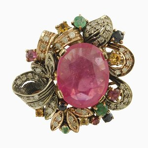 Diamant, Rubin, Smaragd, Blau & Gelb Saphire, Roségold und Silber Ring