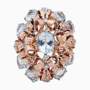 Anillo de oro rosa y blanco de 9 quilates, aguamarina y diamantes