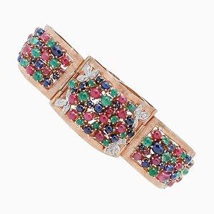 Brazalete de esmeralda, rubí, zafiro, diamante y oro blanco de 14 kt