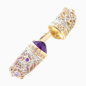 Diamond, Sapphire, Amethyst, Topaz, Mother of Pearl & 9K Gold and Silver Bracelet