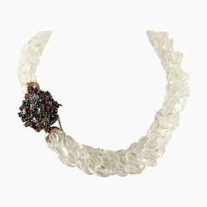 Collana con diamanti, rubini, smeraldi, zaffiri, cristallo di rocca, oro rosa e argento