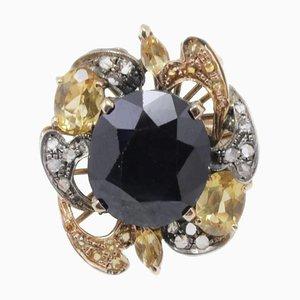 Bague Diamant, Saphir Bleu Australien, Saphir Jaune, Or Rose et Argent