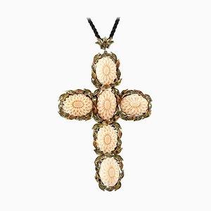 Colgante en forma de cruz de coral, esmeralda, rubí, diamante, oro rosa de 9 kt y plata
