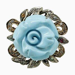 Anello con zaffiro, turchese, diamanti, argento e oro rosa