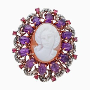 Amethyst, Ruby, Diamond, 9 Karat Rose Gold and Silver Cameo Ring