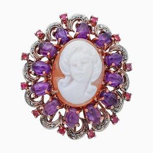 Anello con cammeo in ametista, rubino, diamante, oro rosa 9 carati