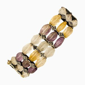 Diamond, Stone, 9 Karat Rose Gold and Silver Bracelet