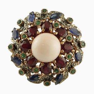 Anello con corallo, smeraldo, rubino, zaffiro blu, diamante, oro 9 carati