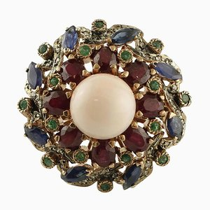 Coral, Emerald, Ruby, Blue Sapphire, Diamond, 9 Karat Gold and Silver Ring